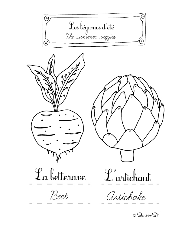 Beet and artichoke: Free coloring page with summer veggies