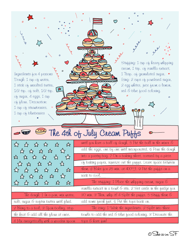 4th of July Cream Puffs illustrated recipe