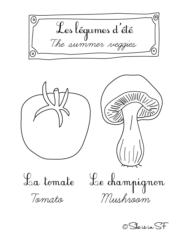 Free coloring page with summer veggies in french and english
