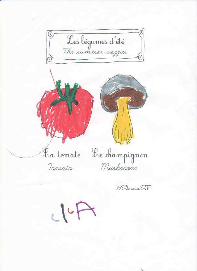 Veggies colored by Lila - Légumes coloriés par Lila
