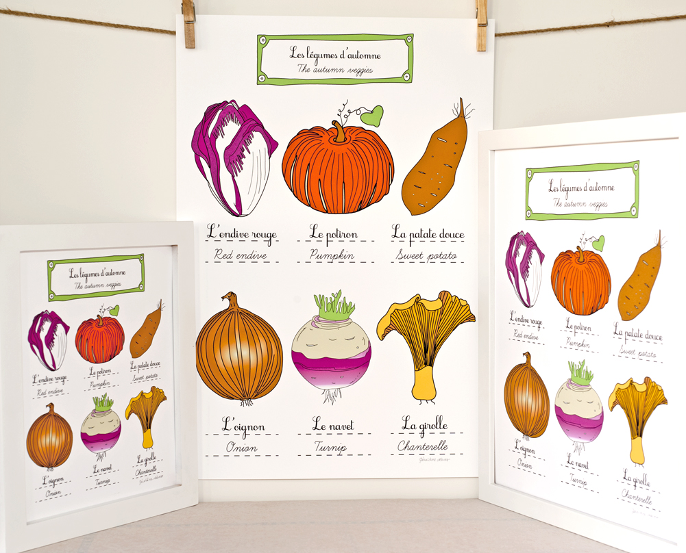 Autumn vegetables art print