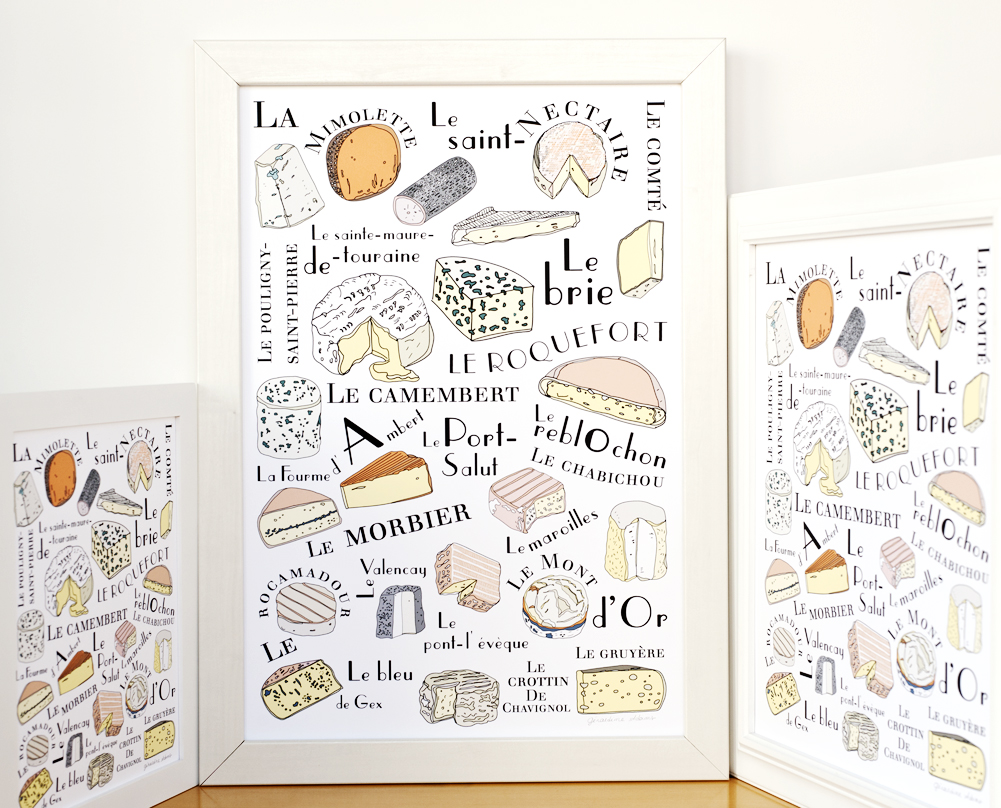 French Cheeses illustration in 3 sizes