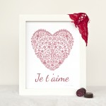 Valentine's Je t'aime Red Heart silhouette