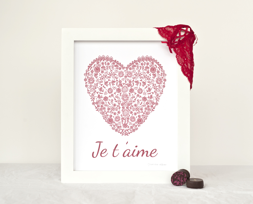 Valentine Je t'aime Red Heart Silhouette