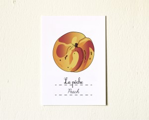 5x7 Spring Fruits Peach - Kitchen Fine Art Print - French Rustic Kitchen