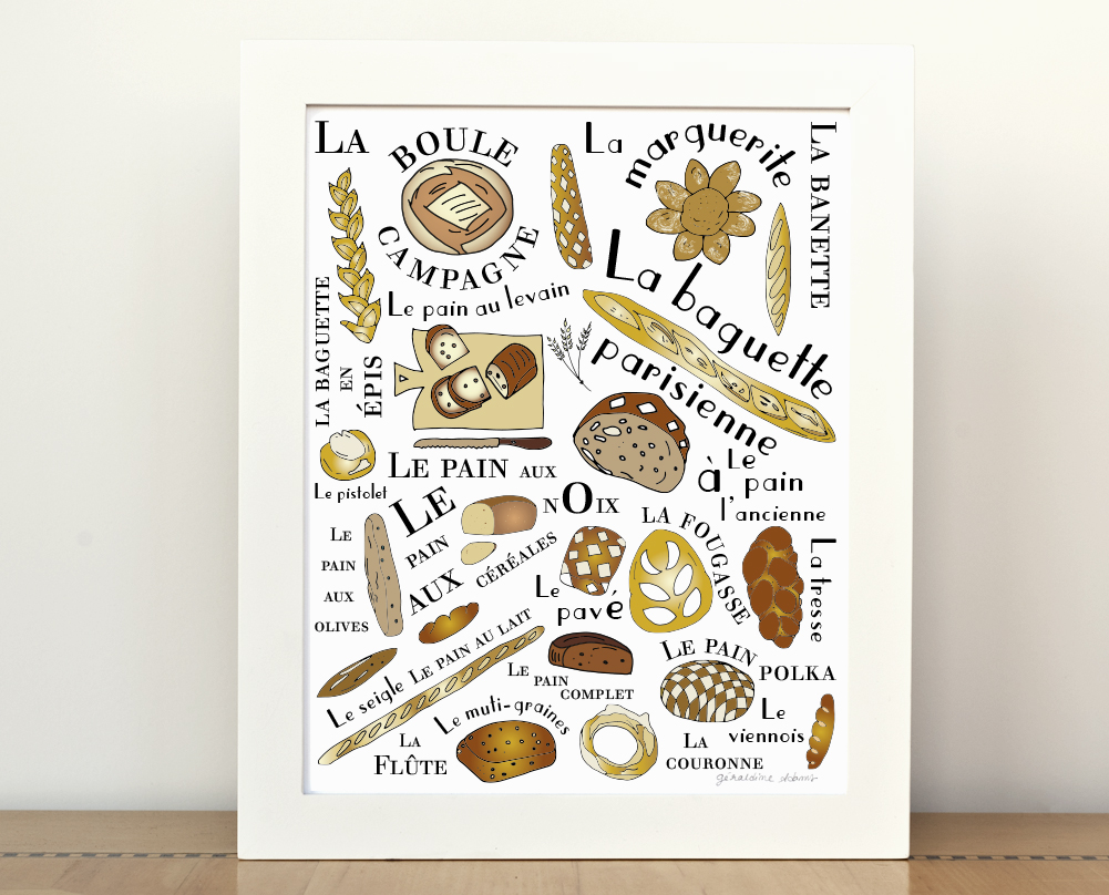 The French Breads Art Print Kitchen Poster