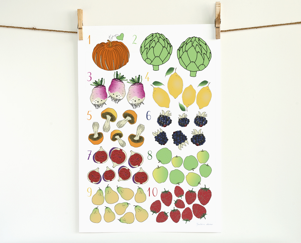 Fruits and Vegetables Numbers 13x19 Print
